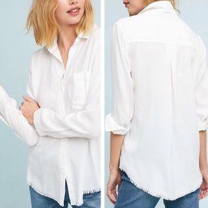 Cloth & stone white button down frayed hem top